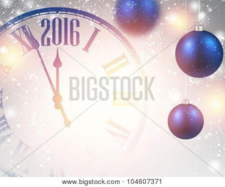 2016 New Year background with clock and balls. Vector illustration.