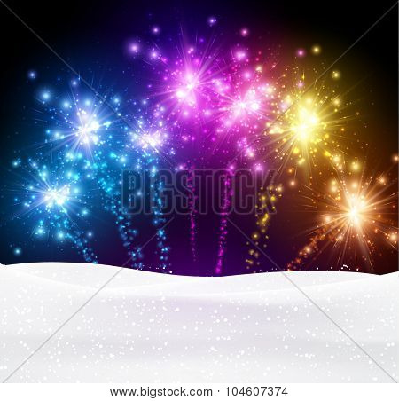 Festive xmas colour firework background. Vector illustration.