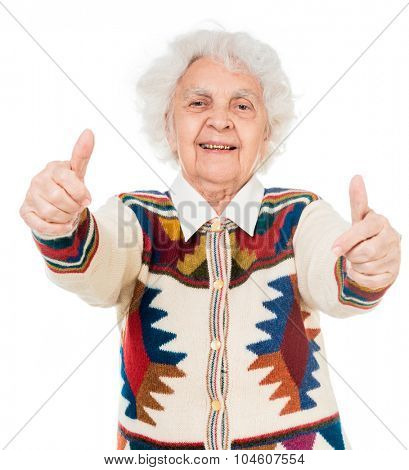 elderly woman with thumbs up isolated on white background