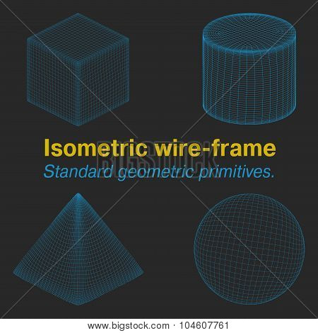 Isometric wire-frame. Standard geometric primitives.