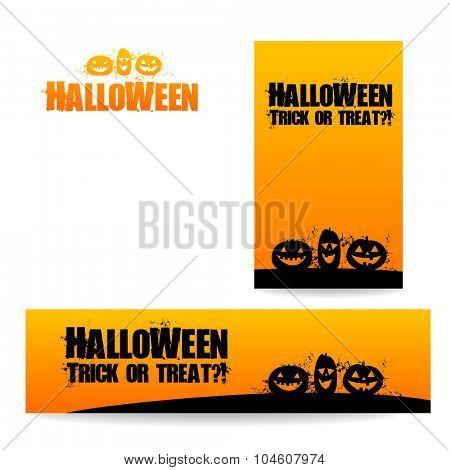 Halloween banners - vector design templates. Different standard sizes.