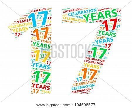 Colorful word cloud for celebrating a 17 year birthday or anniversary