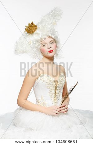 Princess With A Golden Crown In A White Dress
