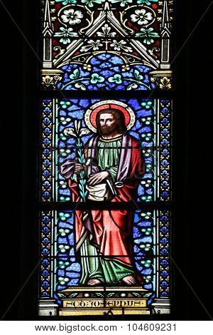 ZAGREB, CROATIA - NOVEMBER 21: Saint Joseph, stained glass window in parish church of Saint Mark in Zagreb, Croatia on November 21, 2014