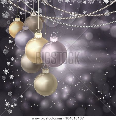 Christmas balls, beads, snowflakes on a dark magic background.