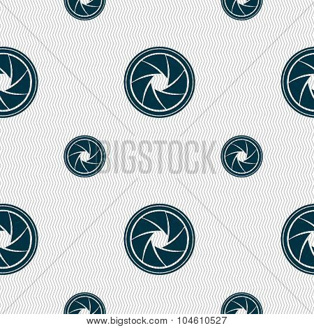 Diaphragm Icon. Aperture Sign. Seamless Pattern With Geometric Texture. Vector