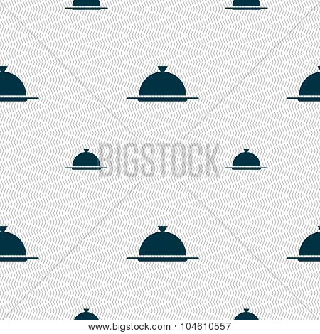 Food Platter Serving Sign Icon. Table Setting In Restaurant Symbol. Seamless Pattern With Geometric
