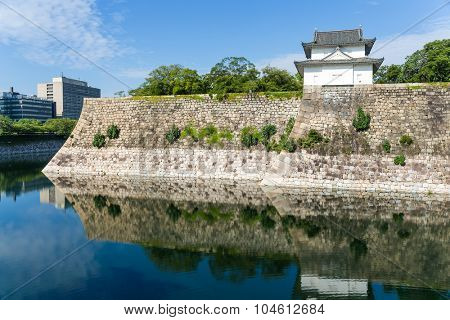 Turret of the osaka castle in Japan
