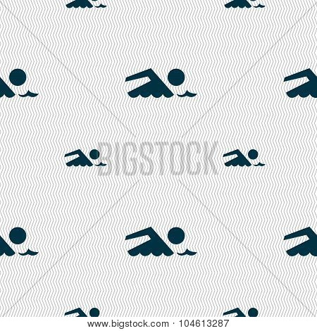 Swimming Sign Icon. Pool Swim Symbol. Sea Wave. Seamless Pattern With Geometric Texture. Vector
