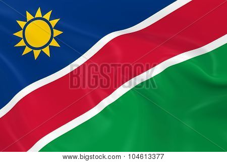 Waving Flag Of Namibia - 3D Render Of The Namibian Flag With Silky Texture