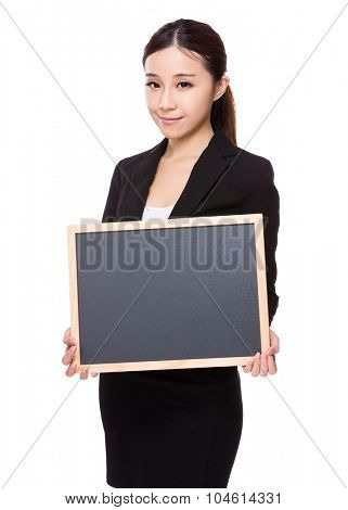 Asian Young businesswoman show with chalkboard