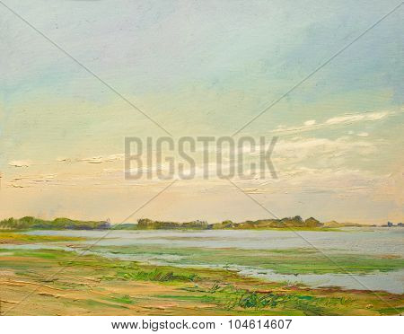 clouds illuminated by the sun over the river in the steppe painting oil on canvas