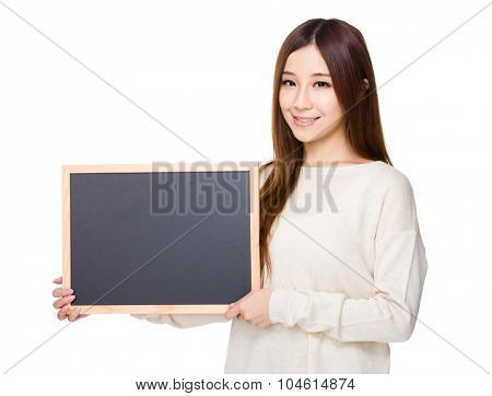 Woman show with chalkboard