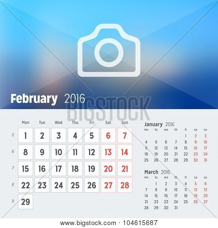 February 2016. Desk Calendar For 2016 Year. Vector Design Print Template With Place For Photo. Week