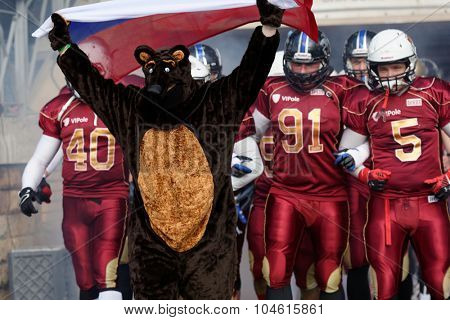 PUSHKIN, LENINGRAD OBLAST, RUSSIA - OCTOBER 10, 2015: American football team Russia enter to the qualifying match of European Championship 2016 against Norway. Russia won the match 20:0