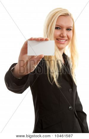 Businesswoman Is Holding Empty Card