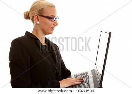 Blonde Secretary With Laptop