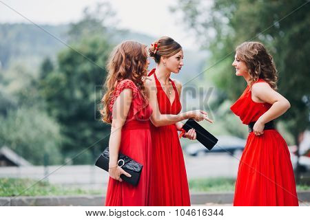 beautiful girls bridesmaid  in the red dresses communicate
