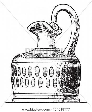 Vase perfumes, vintage engraved illustration. Private life of Ancient-Antique family-1881.