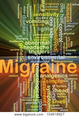 Background concept wordcloud illustration of migraine glowing light