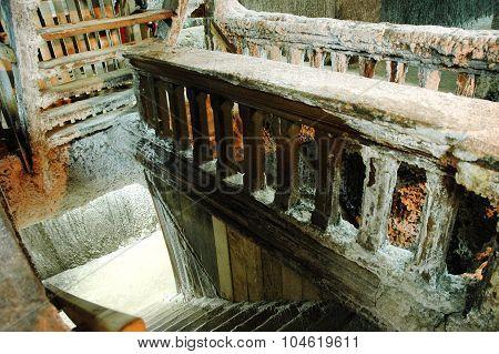 Wooden Steps In An Underground Salt Mine