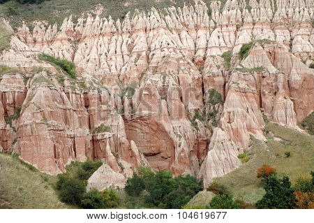 Geological Reserve. The Ravine Of Rapa Rosie, Romania