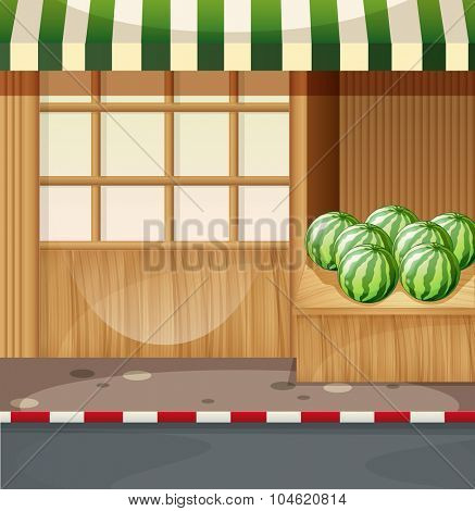 Watermelon in front of a shop illustration