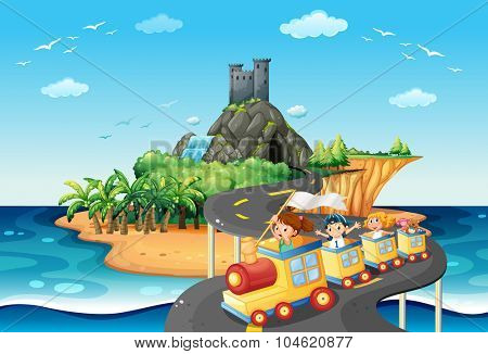 Children on train to the beach illustration