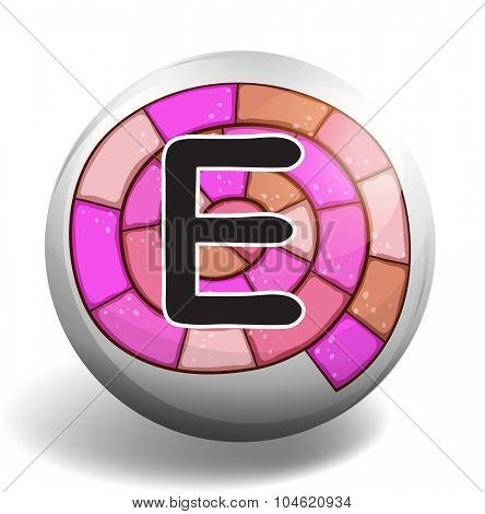 Letter E on spiral design illustration