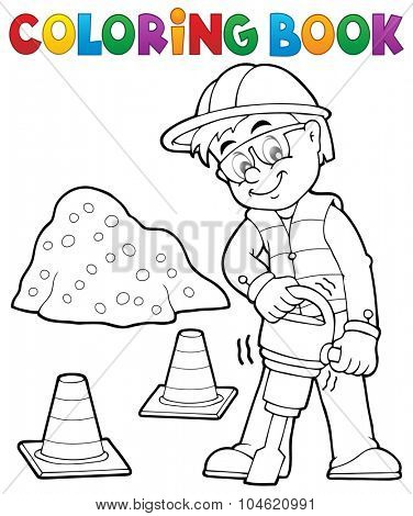 Coloring book construction worker 3 - eps10 vector illustration.