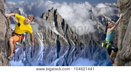 Rock climbers in alpine landscape with blue lake