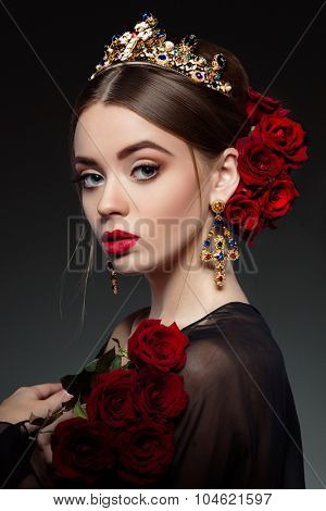 Fashion girl portrait.Accessorys.