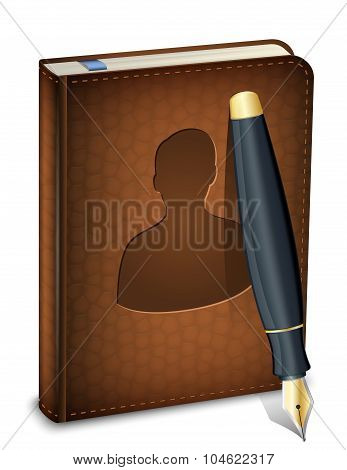 Address Book Icon With Ink Pen. Vector