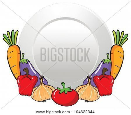 Vegetables and round plate illustration