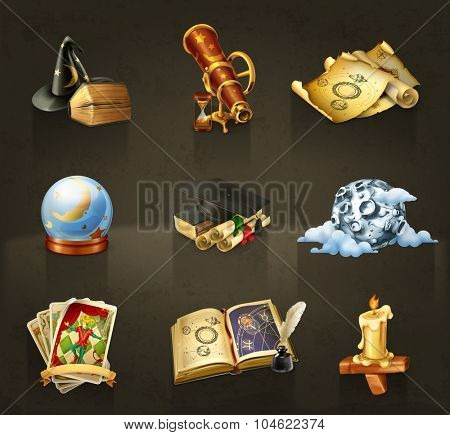 Astrology, set of vector icons dark