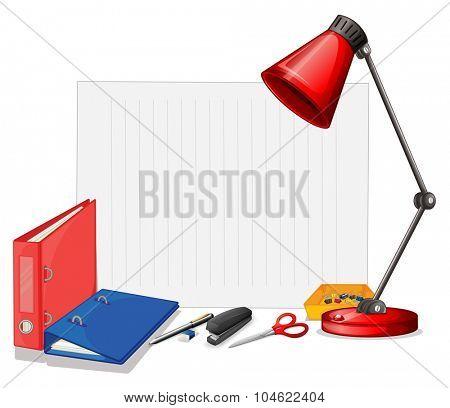 Different kind of stationaries illustration