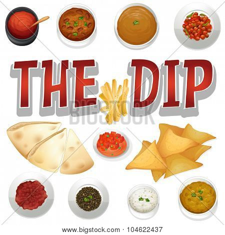 Different kind of dips and chips illustration