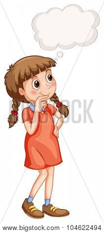 Little girl with thinking bubble illustration