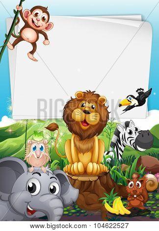 Border design with wild animals illustration