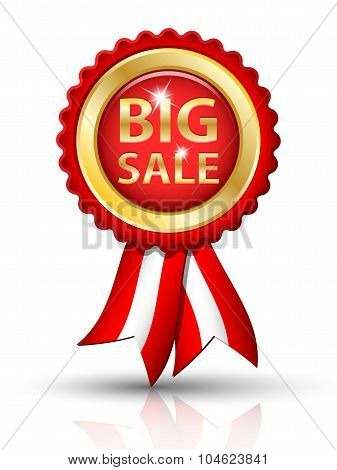 Golden Big Sale Tag With Ribbons