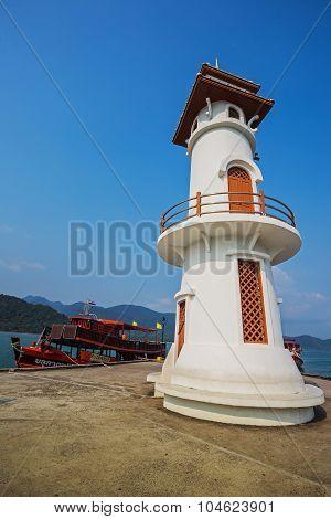 Lighthouse On A Bang Bao Pier On Koh Chang Island