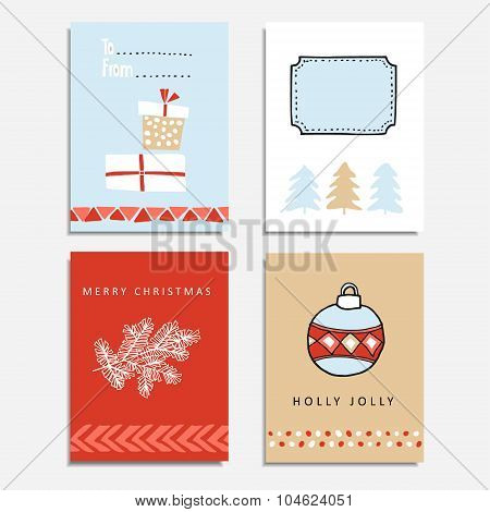 Set Of Hand Drawn Christmas Greeting, Journal Cards, Vector