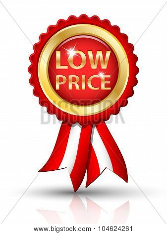 Golden Low Price Tag With Ribbons