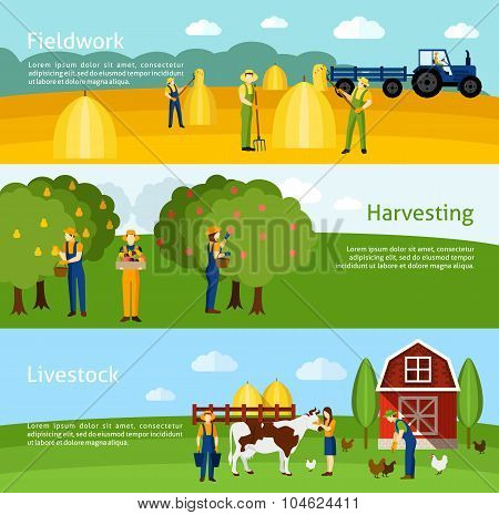 Farming 3 flat horizontal banners set