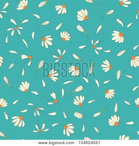Seamless pattern with cute chamomile flowers