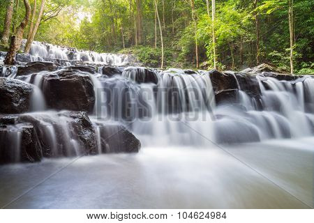 Beautiful Deep Forest Waterfall At Sam Lan Waterfall National Park Saraburi Thailand