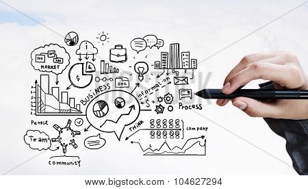Person hand drawing business strategy plan on sky background