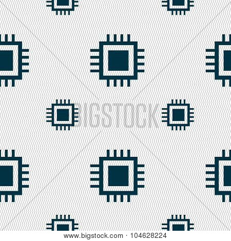 Central Processing Unit Icon. Technology Scheme Circle Symbol. Seamless Pattern With Geometric Textu
