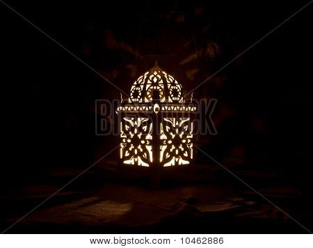 Cute Lantern With Burning Candle On Black