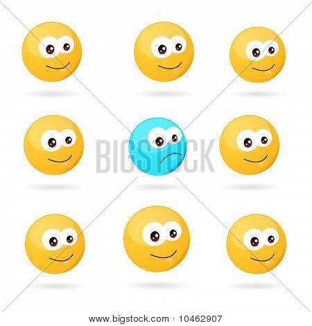 sad through happy smileys